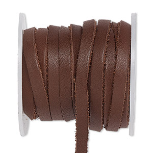 cord, leather, brown, 4mm flat. sold per 25-yard spool.