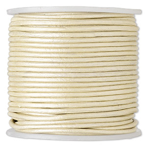 cord, leather (coated), metallic beige, 1.4-1.6mm round. sold per 25-yard spool.