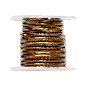 cord, leather (coated), metallic bronze, 1-1.2mm round. sold per 5-yard spool.