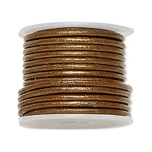 cord, leather (coated), metallic bronze, 2mm. sold per 5-yard spool.