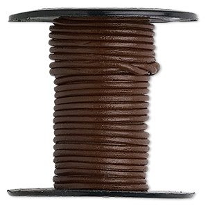 cord, leather (dyed), brown, 1-1.2mm round. sold per 25-yard spool.