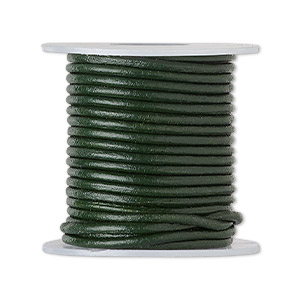 cord, leather (dyed), dark green, 1.4-1.6mm round. sold per 5-yard spool.