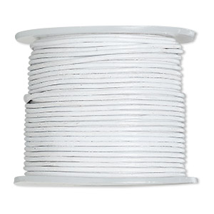 cord, leather (dyed), off-white, 0.5-0.8mm. sold per 25-yard spool.