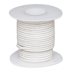 cord, leather (dyed), off-white, 1-1.2mm round. sold per 5-yard spool.