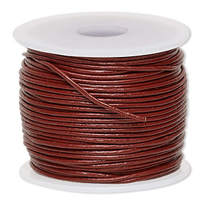 cord, leather (dyed), rose, 0.5-0.8mm. sold per 25-yard spool.