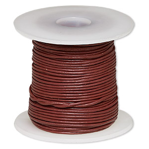 cord, leather (dyed), rose, 1-1.2mm round. sold per 25-yard spool.