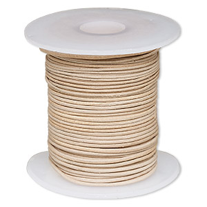 cord, leather, natural, 0.5-0.8mm round. sold per 25-yard spool.