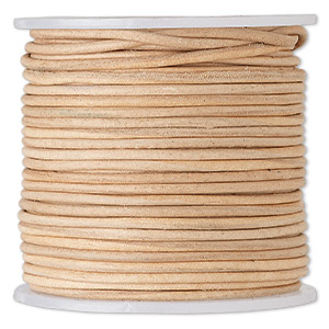 cord, leather (natural), 1.4-1.6mm round. sold per 25-yard spool.
