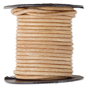 cord, leather, natural, 2mm round. sold per 25-yard spool.