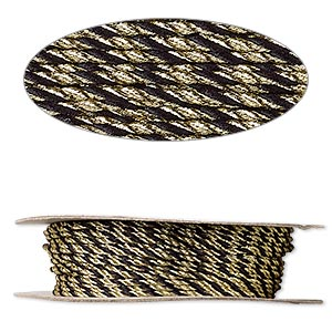 cord, nylon, black and metallic gold, 2mm round. sold per 100-foot spool.