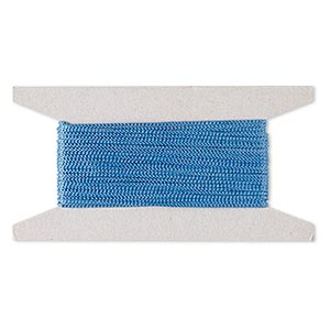 cord, nylon, blue, 2mm round. sold per 25-foot card.