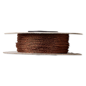 cord, nylon, brown, 1mm twisted. sold per 100-foot spool.