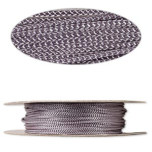 cord, nylon, grey, 2mm round. sold per 100-foot spool.
