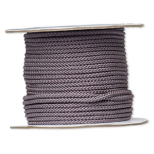 cord, nylon, grey, 3.5mm round. sold per 100-foot spool.