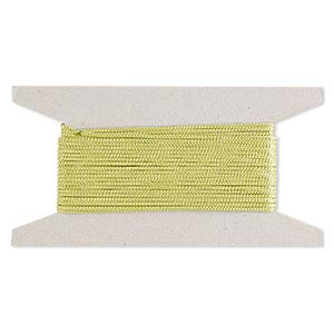 cord, nylon, lime green, 2mm round. sold per 25-foot card.