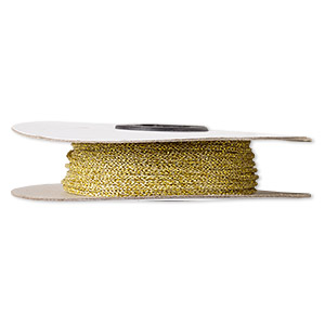 cord, nylon, metallic gold, 1.5mm round. sold per 100-foot spool.