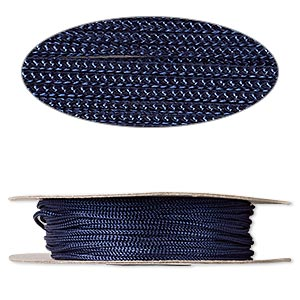 cord, nylon, navy blue, 2mm round. sold per 100-foot spool.