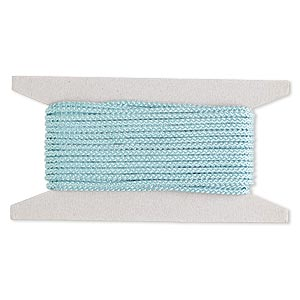 cord, nylon, turquoise blue, 3mm round. sold per 25-foot card.