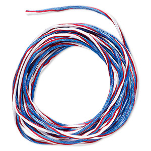cord, satinique™, nylon, red / white / blue, 2mm regular with vertical stripe. sold per 10-foot section.
