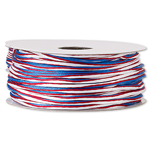 cord, satinique™, nylon, red / white / blue, 2mm regular with vertical stripe. sold per 100-foot spool.