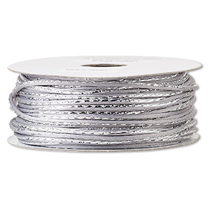 cord, satinique™, nylon, silver and grey, 2mm regular with vertical stripe. sold per 100-foot spool.
