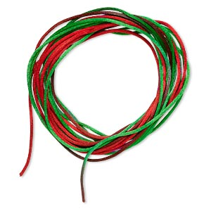 cord, satinique™, satin, christmas, 1mm mini. sold per pkg of 10 feet.