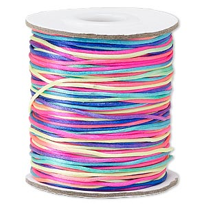 cord, satinique™, satin, confetti, 1mm mini. sold per 200-foot spool.