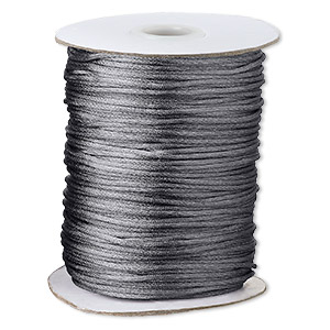 cord, satinique™, satin, dark grey, 1.5mm small. sold per 400-foot spool.
