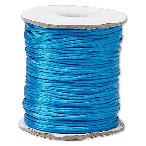 cord, satinique™, satin, dark turquoise blue, 1mm mini. sold per 200-foot spool.