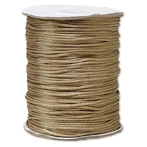 cord, satinique™, satin, light brown, 1.5mm small. sold per 400-foot spool.