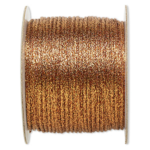 cord, satinique™, satin, metallic copper, 2mm. sold per 432-foot spool.