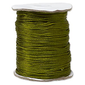 cord, satinique™, satin, olive green, 1.5mm small. sold per 400-foot spool.
