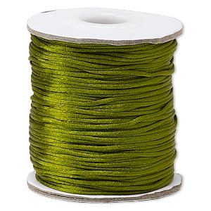 cord, satinique™, satin, olive green, 1mm mini. sold per 200-foot spool.