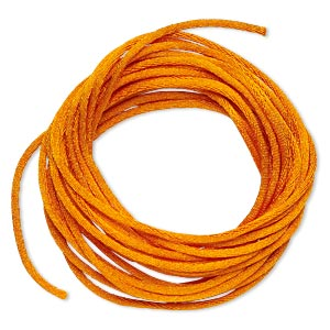 cord, satinique™, satin, orange, 1.5mm small. sold per pkg of 10 feet.
