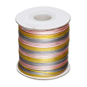 cord, satinique™, satin, pink / gold / grey, 1mm mini. sold per 200-foot spool.