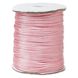 cord, satinique™, satin, pink, 1.5mm small. sold per 400-foot spool.