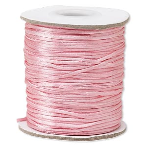 cord, satinique™, satin, pink, 1mm mini. sold per 200-foot spool.