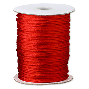 cord, satinique™, satin, red, 1.5mm small. sold per 400-foot spool.