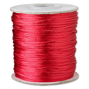 cord, satinique™, satin, red, 1mm mini. sold per 200-foot spool.