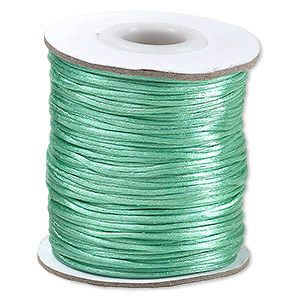 cord, satinique™, satin, sea foam green, 1mm mini. sold per 200-foot spool.