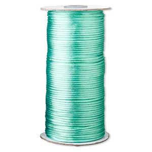 cord, satinique™, satin, sea foam green, 2mm regular. sold per 400-foot spool.