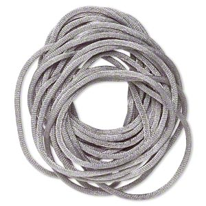 cord, satinique™, satin, silver, 1.5mm small. sold per pkg of 10 feet.