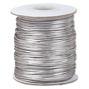 cord, satinique™, satin, silver, 1mm mini. sold per 200-foot spool.