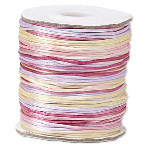 cord, satinique™, satin, tenderness, 1mm mini. sold per 200-foot spool.
