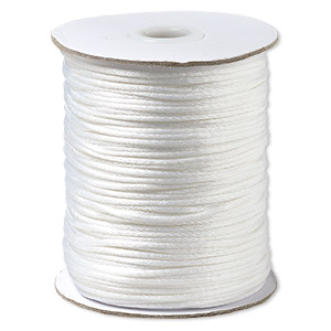 cord, satinique™, satin, white, 1.5mm small. sold per 400-foot spool.