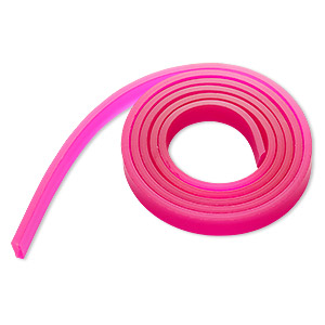cord, silicone, translucent dark pink, 10mm flat. sold per pkg of 1 yard.
