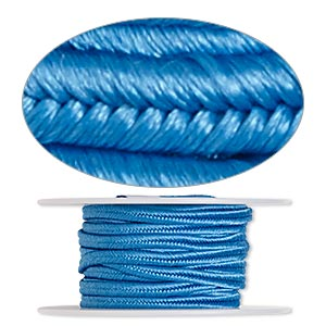 cord, soutache, polyester, light blue, 3.5mm wide. sold per 6-yard spool.