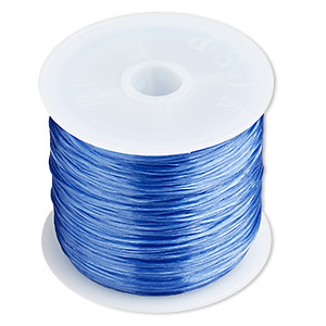 cord, stretch, elastic floss, blue, 0.5mm diameter. sold per 75-meter spool.