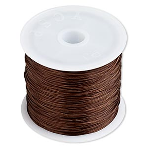 cord, stretch, elastic floss, brown, 0.5mm diameter. sold per 75-meter spool.