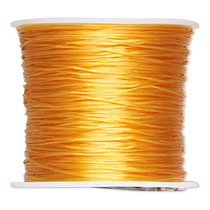 cord, stretch, elastic floss, yellow, 0.5mm diameter. sold per 75-meter spool.